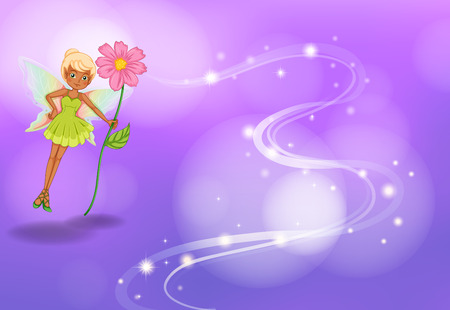 Illustration of a fairy with flower