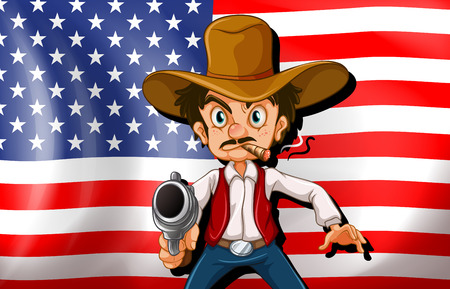 united nations: Illustration of a cowboy in front of the USA flag