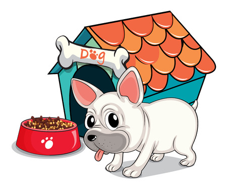pant: Illustration of a cute bulldog outside the doghouse on a white background