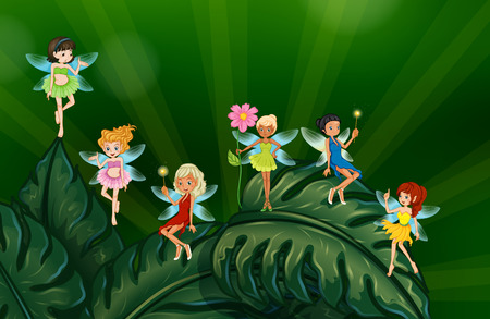 enchanted forest: Illustration of many fairies on leaves