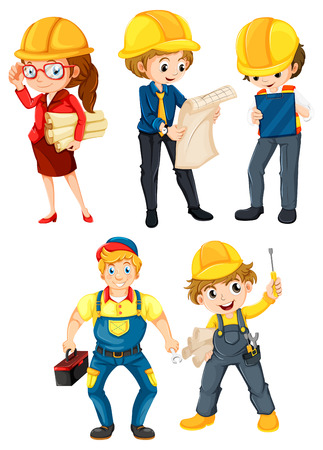 cartoon carpenter: Illustration of the hardworking people on a white background
