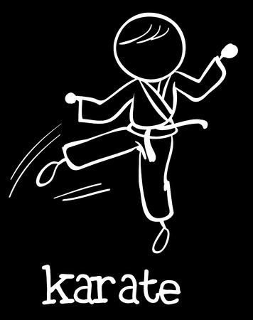 concentrating: Illustration of stickman doing karate