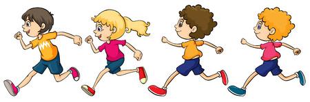 Illustratie van jongens en een meisje lopen