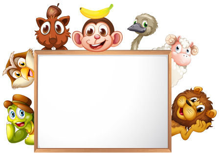monkey nuts: Illustration of an empty signboard surrounded with animals on a white background