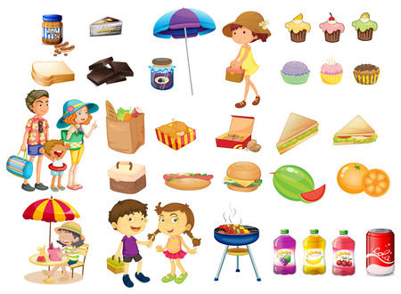 Illustration of the set of things and foods for a picnic on a white background Vector