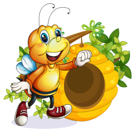 Illustration of a bee near the beehive on a white background
