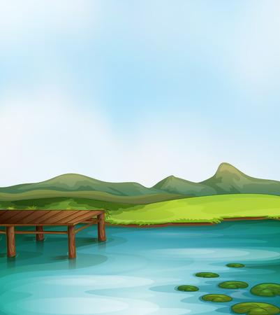 wooden dock: Illustration of a lake scene