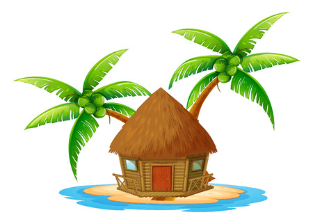 Illustration of an island with a nipa hut on a white background 일러스트