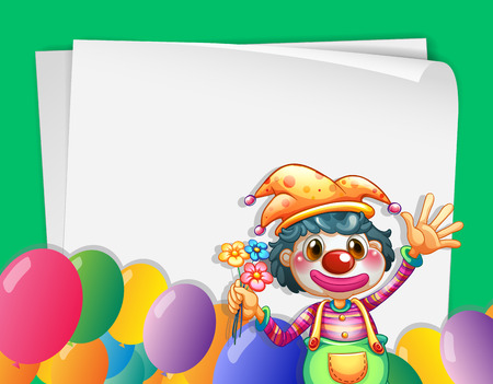 birthday hat: Illustration of a clown in the corner of a banner Illustration