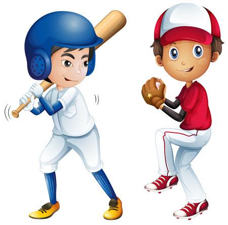 Illustration of kids playing baseball