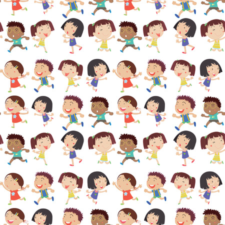 Illustration of a character set of boys and girls Vector