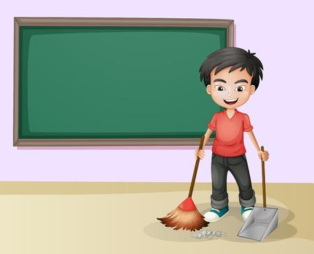 escuela: Ilustración de un muchacho de limpieza en un aula Vectores