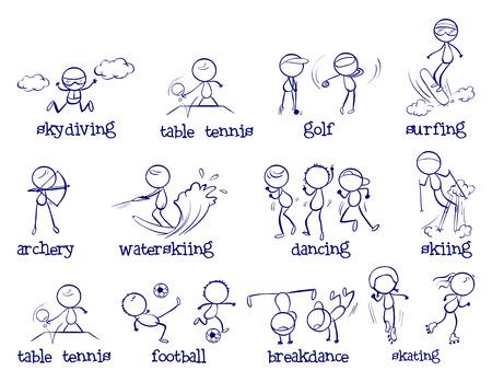 simple line drawing: Illustration of sport doodles on white Illustration