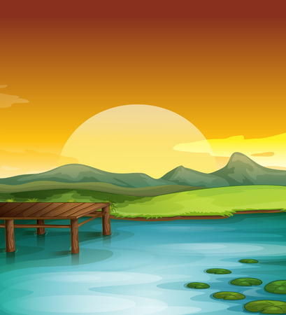 sunset lake: Illustration of a sun setting over water