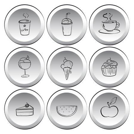 Illustration of the icons with foods and drinks on a white background Vector
