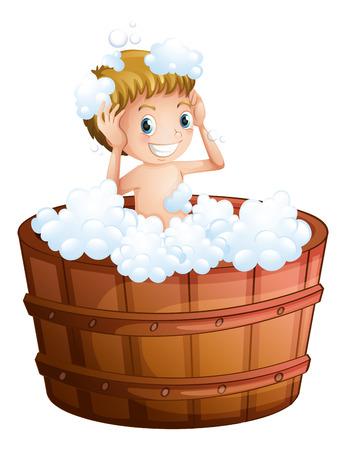 boy bath: Illustration of a young boy taking a bath at the big bathtub on a white background