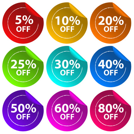 labelling: Illustration of the stickers for discount offers on a white background