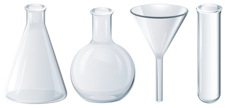 laboratory glass: Illustration of four chemical equipment