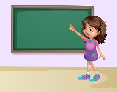 pointing up: Illustration of a girl pointing at the board in a classroom Illustration