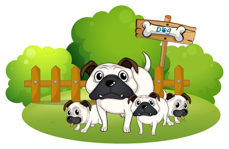Illustration of a group of bulldogs near the fence on a white background Vector