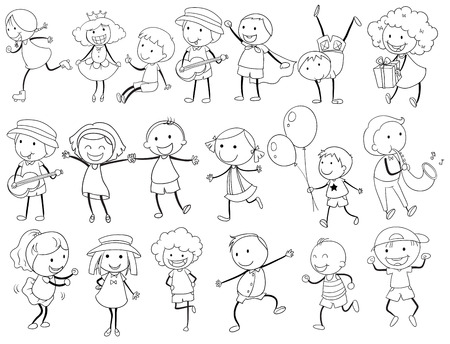 Illustration of simple kid doodle actions Vector