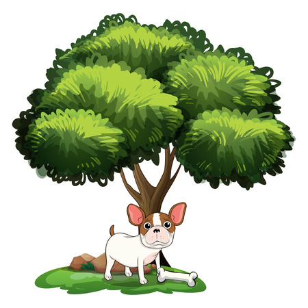 plant stand: Illustration of a dog standing under the tree