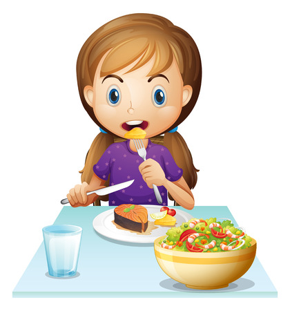 eating lunch: Illustration of a hungry girl eating lunch on a white background Illustration