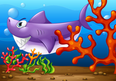 Illustration of a big fish under the sea Vector
