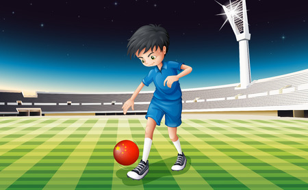 Illustration of a boy playing soccer at the field