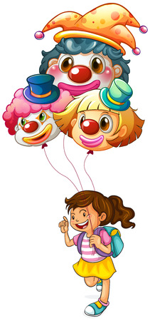 comedian: Illustration of a happy girl holding clown balloons on a white background