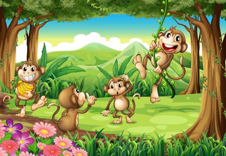platano caricatura: Ilustración de monos jugando en el bosque