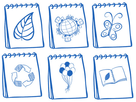 writing pad: Illustration of the different notebook icons on a white background