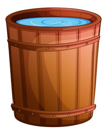 Illustratie van een grote emmer water op een witte achtergrond