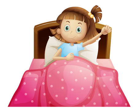 ベッドの中で女の子のイラスト