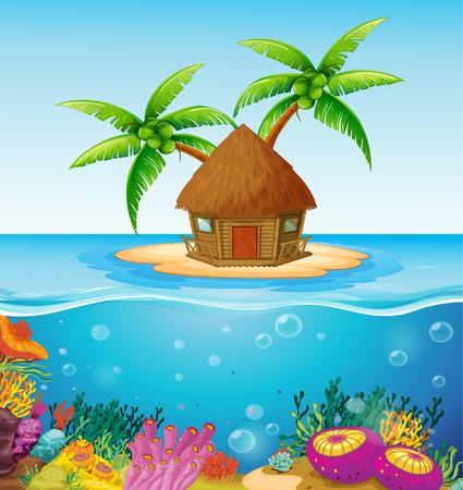 arrecife: Ilustración de una cabaña en una isla desierta