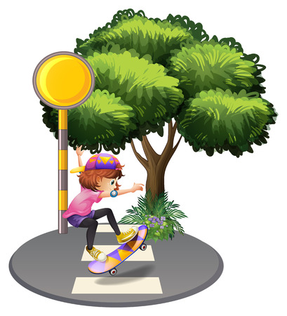 pedestrian walkway: Illustration of a girl skateboarding at the street on a white background