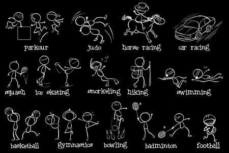 Illustration of the doodle design of the different sports on a black background Vector
