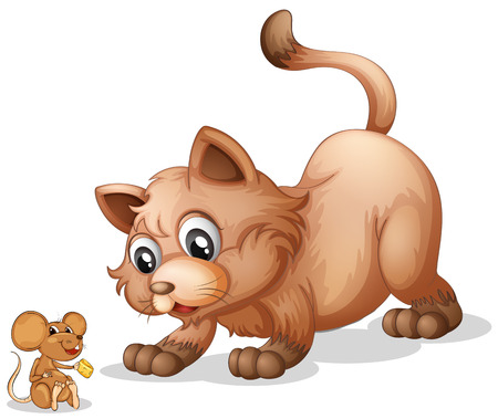 cats playing: Illustration of a cat and a mouse