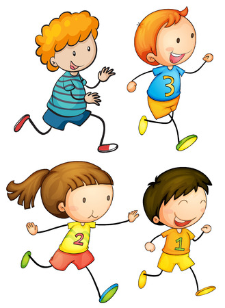 Illustration of simple kids running