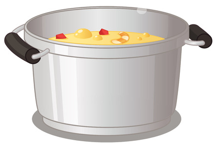 stainless steel pot: Illustration of a pot of soup Illustration