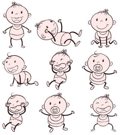 crawling: Illustration of different positions of a baby