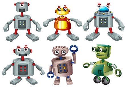 Illustration of the six robots on a white background Vector