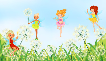 Illustration of faires in a garden Vector