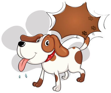 panting: Illustration of a cute dog panting on a white background