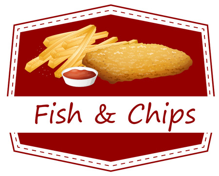 fish and chips: Illustratie van fish and chips
