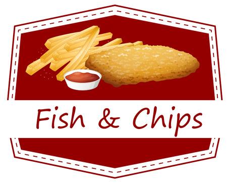 fish and chips: Ilustración de pescado y patatas fritas