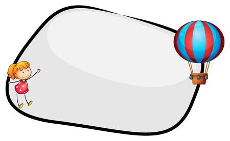 margen: Ilustración de una plantilla vacía con un globo flotante y una niña en un fondo blanco