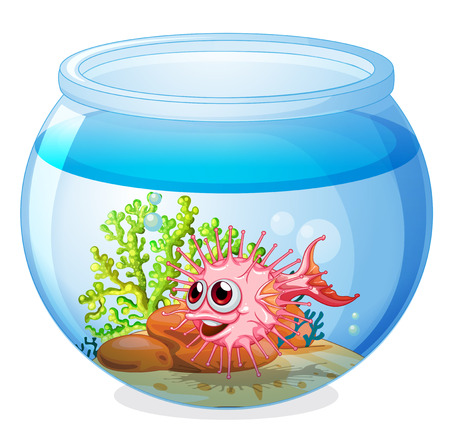 stone bowl: Illustration of a fish inside the transparent aquarium on a white background Illustration