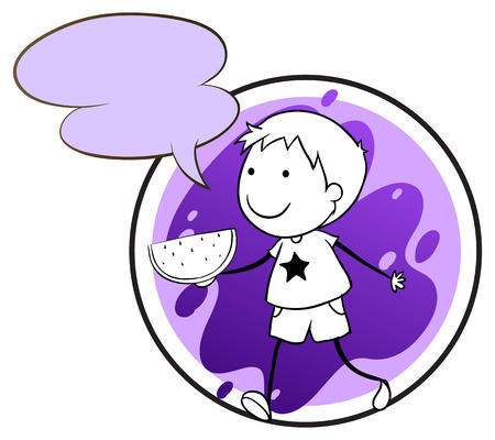 Illustration of a lavender template with a boy holding a watermelon on a white background Vector