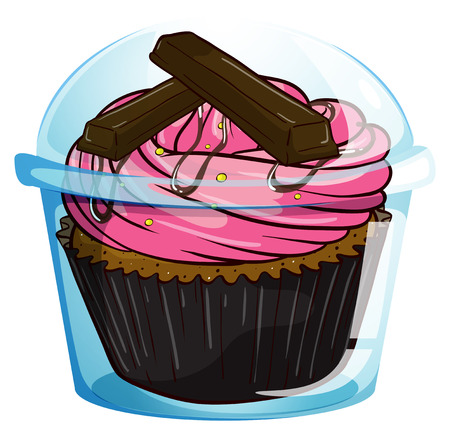 flavorful: Illustration of a transparent label with a chocolate cupcake on a white background